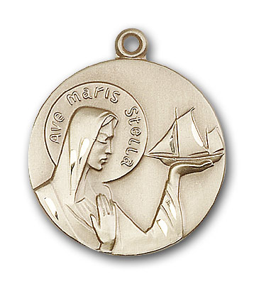14K Gold Our Lady Star of the Sea Pendant - Engravable