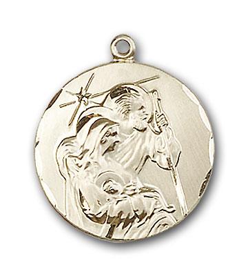 14K Gold Holy Family Pendant - Engravable