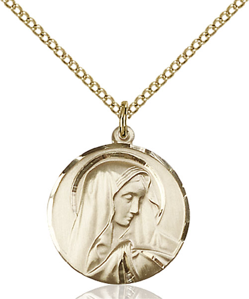 Gold-Filled Sorrowful Mother Pendant
