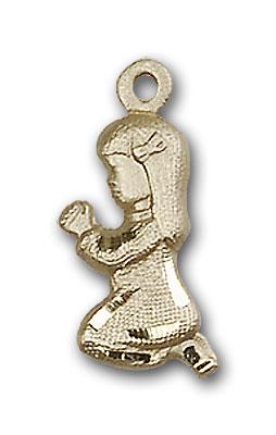 14K Gold Praying Girl Pendant
