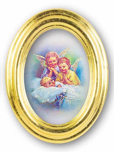 Guardian Angels Gold Oval Frame 5 1/2 X 7
