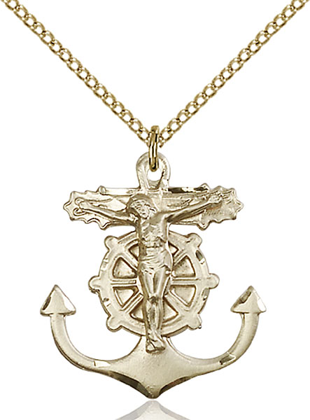 Gold-Filled Anchor Crucifix Pendant