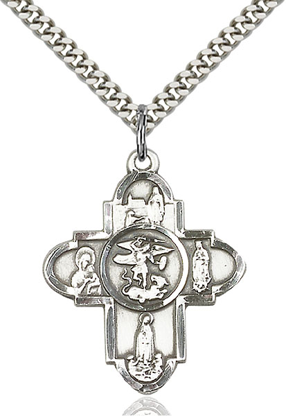 Sterling Silver Our Lady 5-Way Pendant