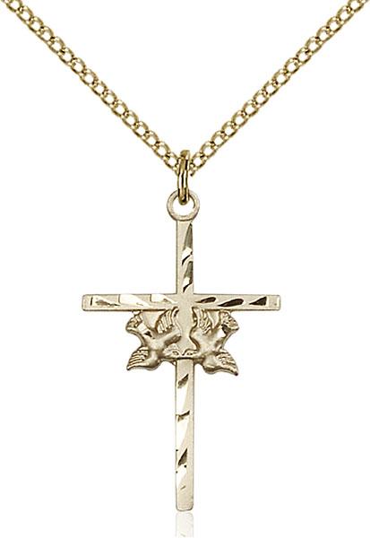 Gold-Filled Doves / Cross Pendant
