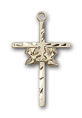 14K Gold Doves / Cross Pendant