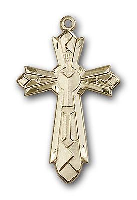 14K Gold Mosaic Cross Pendant