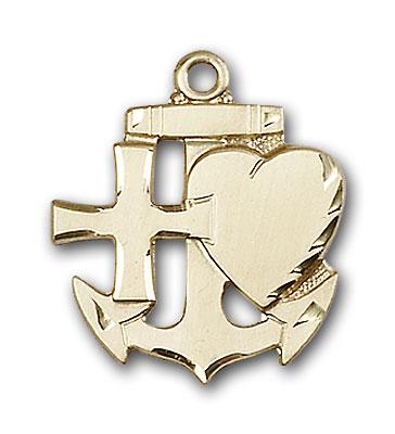 14K Gold Faith, Hope & Charity Pendant