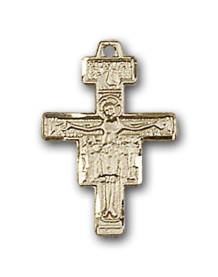 14K Gold San Damiano Crucifix Pendant