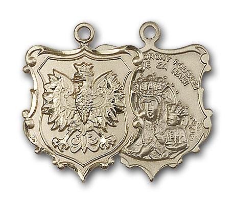 14K Gold Our Lady of Czestochowa Pendant - Engravable