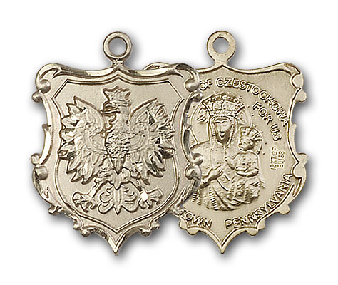14K Gold Our Lady of Czestochowa / English Falcon Meda - Engravable