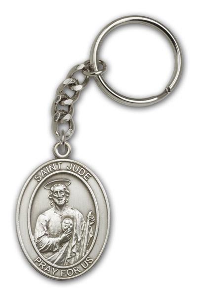 Antique Silver St. Jude Keychain