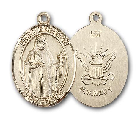 14K Gold St. Brendan the Navigator  Navy Pendant