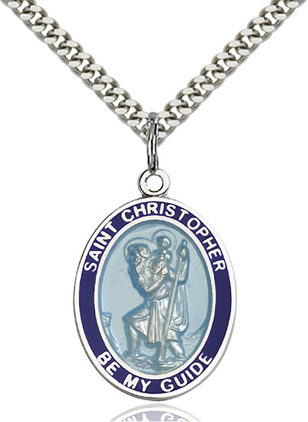 Sterling Silver St. Christopher Blue Border Pendan