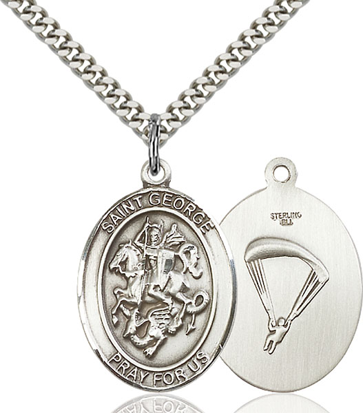 Sterling Silver St. George Paratrooper Pendant