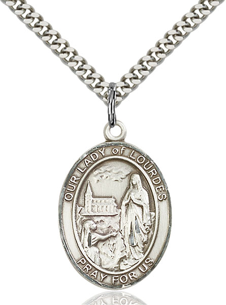Sterling Silver Our Lady of Lourdes Pendant