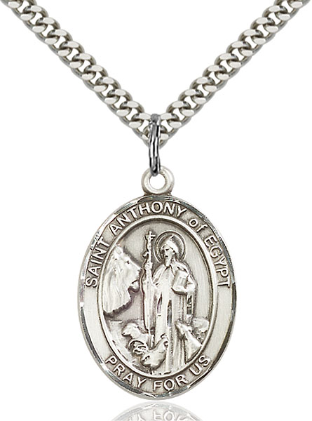 18-Inch Rhodium Plated Necklace with 6mm Topaz Birthstone Beads and Sterling Silver Saint Bernard of Clairvaux Charm.