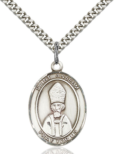Sterling Silver St. Anselm of Canterbury Pendant