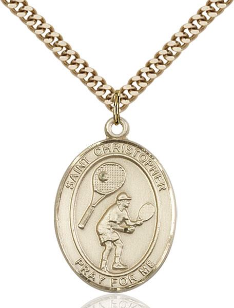 Gold-Filled St. Christopher Tennis Pendant