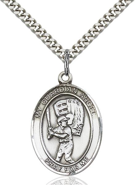 Sterling Silver Guardian Angel Baseball Pendant