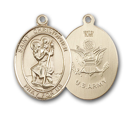 Gold-Filled St. Christopher Army Pendant