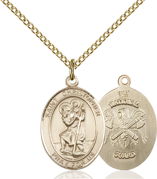 Gold-Filled St. Christopher National Guard Pendant