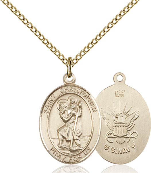 Gold-Filled St. Christopher Navy Pendant