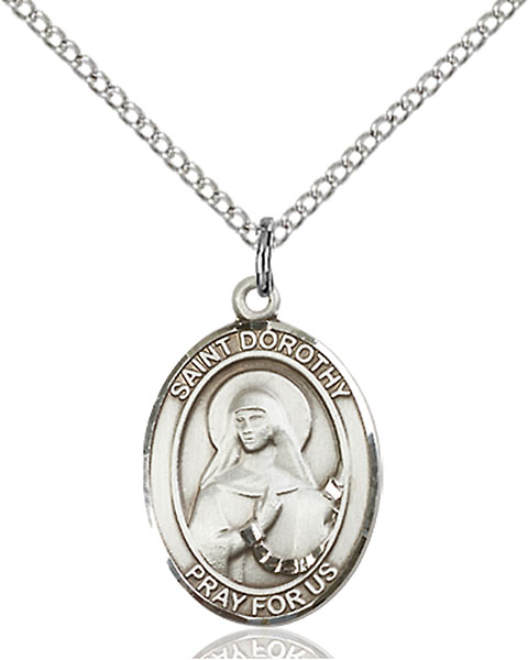 18-Inch Rhodium Plated Necklace with 6mm Sterling Silver Beads and Sterling Silver Saint Kieran Charm.