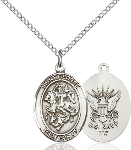Sterling Silver St. George Navy Pendant