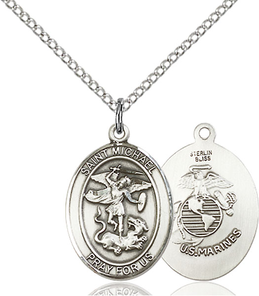 Sterling Silver St. Michael Marines Pendant