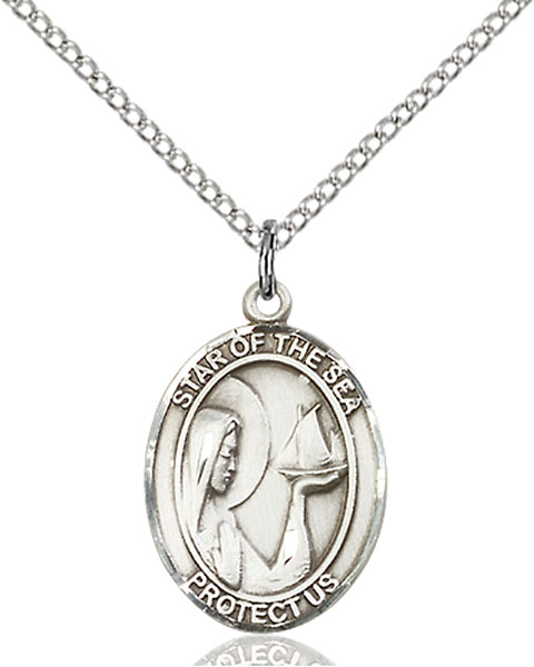 Sterling Silver Our Lady Star of the Sea Pendant