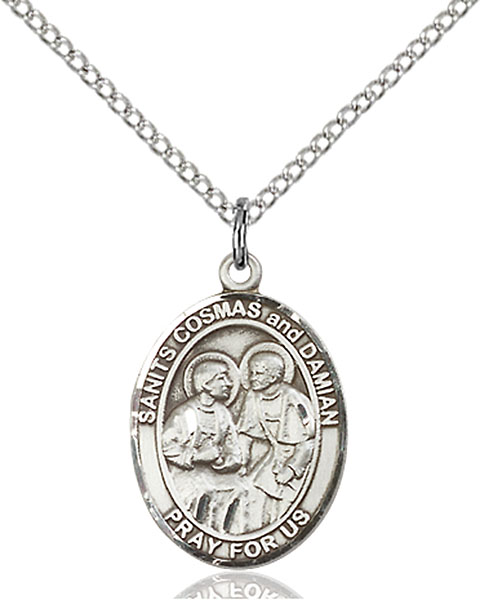 Sterling Silver Sts. Cosmas & Damian Pendant