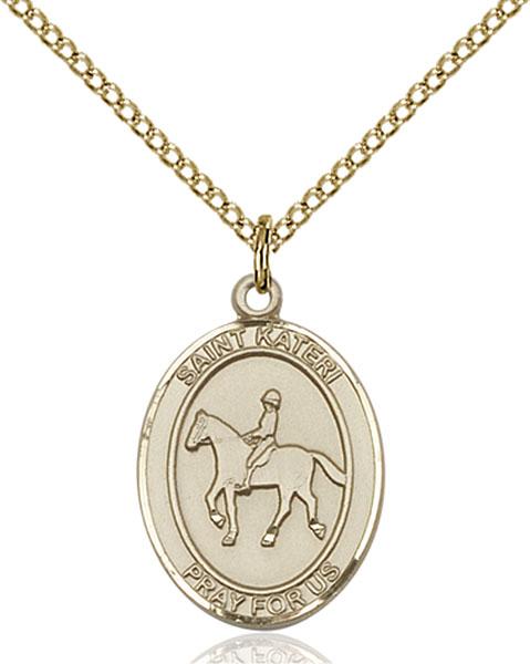 Gold-Filled St. Kateri Equestrian Pendant