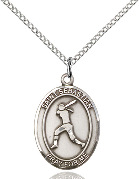 Sterling Silver St. Sebastian Softball Pendant