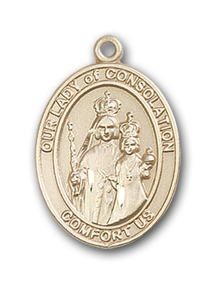 14K Gold OUR LADY of Consolation Pendant