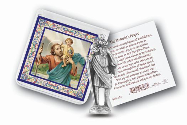 St.Christopher Prayer and Pict Card with Statue 6-Pack