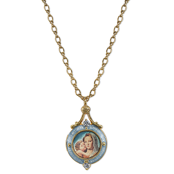 14K Gold-Dipped Blue Enamel Mary and Child Locket Necklace 18