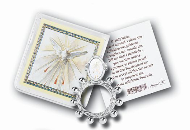 Holy Spirit Rosary Ring andPrayer Card 10-Pack