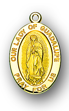 """7/8"""" Solid 14kt. Gold Oval Our Lady of Guadalupe Medal with 14kt. Jump Ring Boxed"""