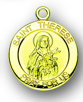 """13/16"""" Solid 14kt. Gold Round St. Therese Medal with 14kt. Jump Ring Boxed"""