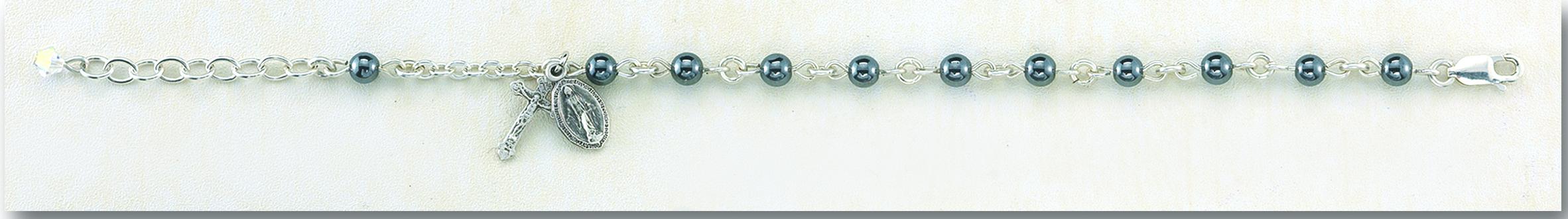 Genuine Hematite Rosary Bracelet