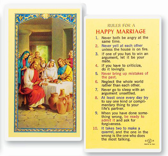 25-Pack - Rules For A Happy Marriage Holy Card