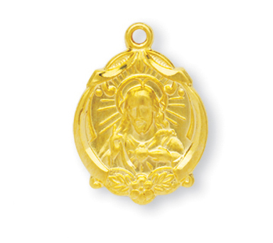 """13/16"""" Gold Over Sterling Silver Scapular Medal with 18"""" Chain"""