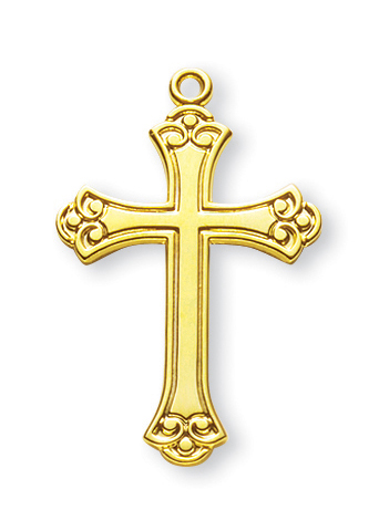 """1 1/8"""" Gold Over Sterling Silver Cross with 18"""" Chain"""