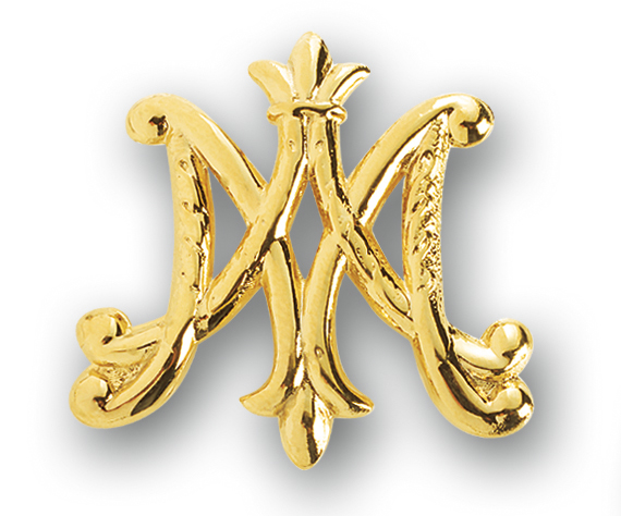 """Gold over Sterling Silver """"Ave Maria"""" Broach Pin"""