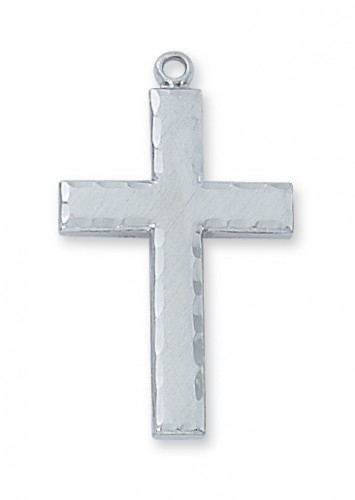 """Sterling Silver Eng Cross with 24"""" Chain"""