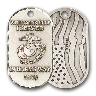 Sterling Silver Marines Iraq Pendant