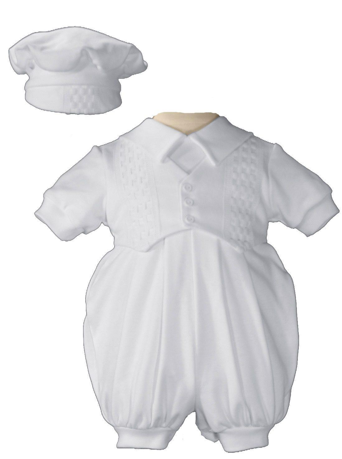 Boys Short Sleeve White Celebration Christening Baptism Set with Hat