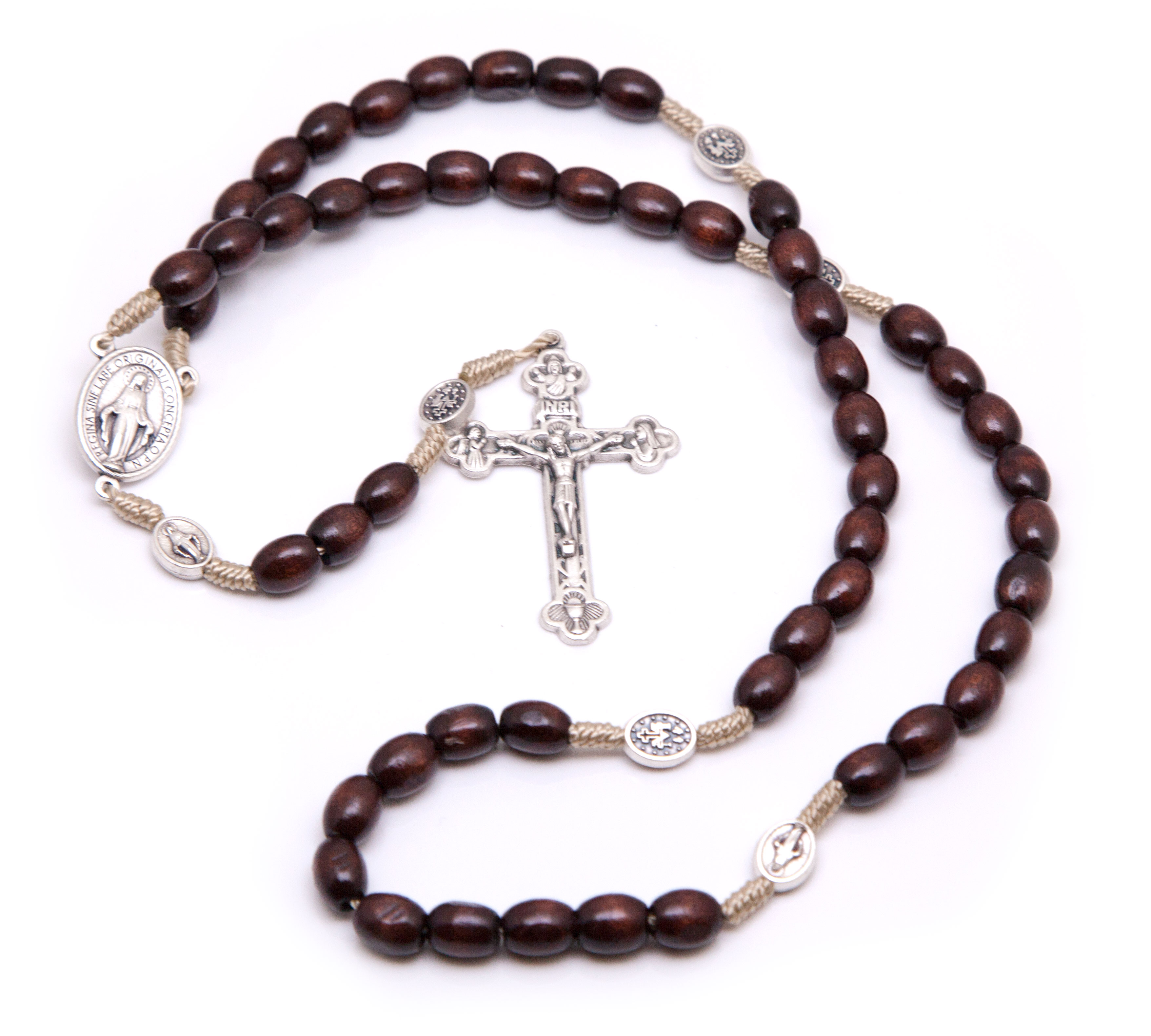 Miraculous Medal Wooden Rosary