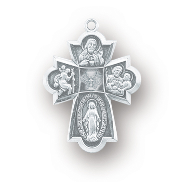 """13/16"""" Sterling Silver 4-Way Medal with Chalice in Center with 18"""" Chain"""
