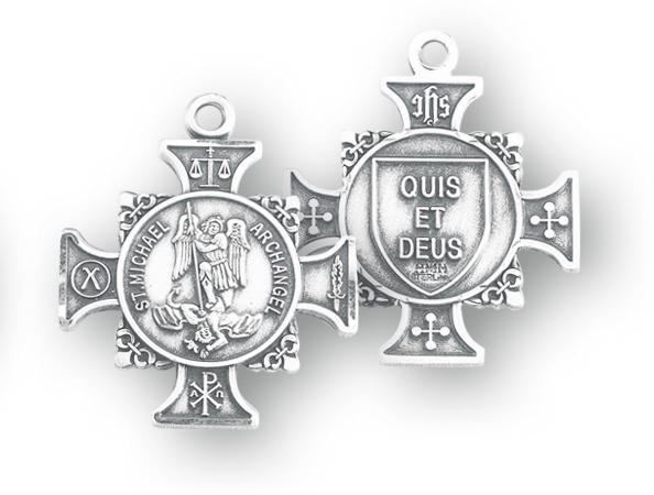Sterling Silver Maltese Cross Shaped St. Michael Medal
